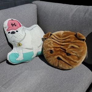 Set of 2 dog shaped cushions